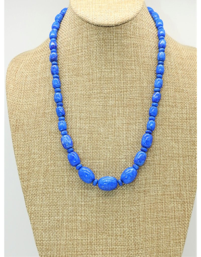 Pam Springall Graduated Lapis Barrels & Rondells Necklace