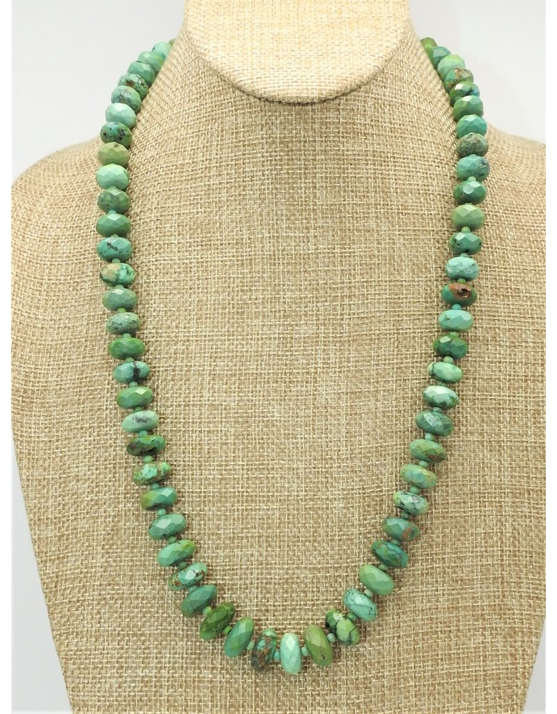 Pam Springall PS-N52 Natural Green Faceted Turquoise Rondells