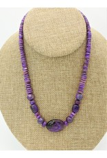 Pam Springall Sugilite Rondells & Cluster Oval Necklace