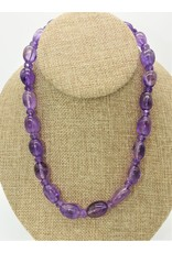 Pam Springall PS-N35C Amethyst Ovals Bead Necklace