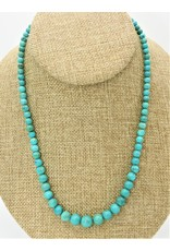 Pam Springall PS-N48 Graduated Round Turquoise Bead Necklace