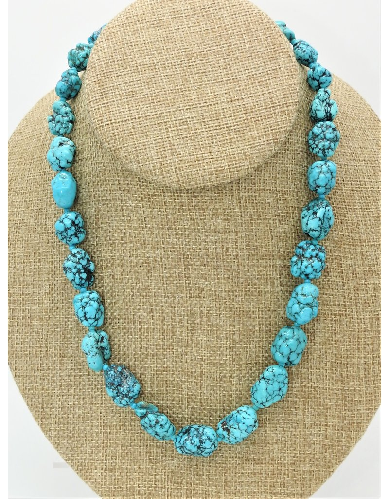 Pam Springall PS-N178 Spiderweb Turquoise Nuggets Necklace