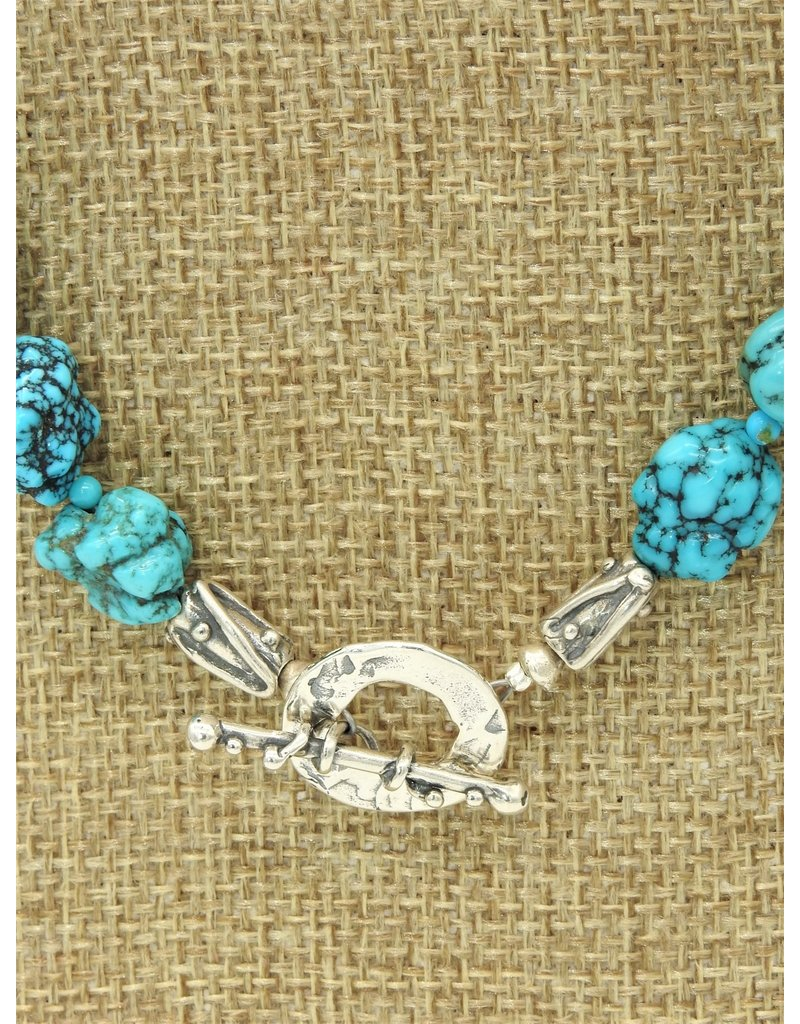 Pam Springall Spiderweb Turquoise Nuggets Necklace
