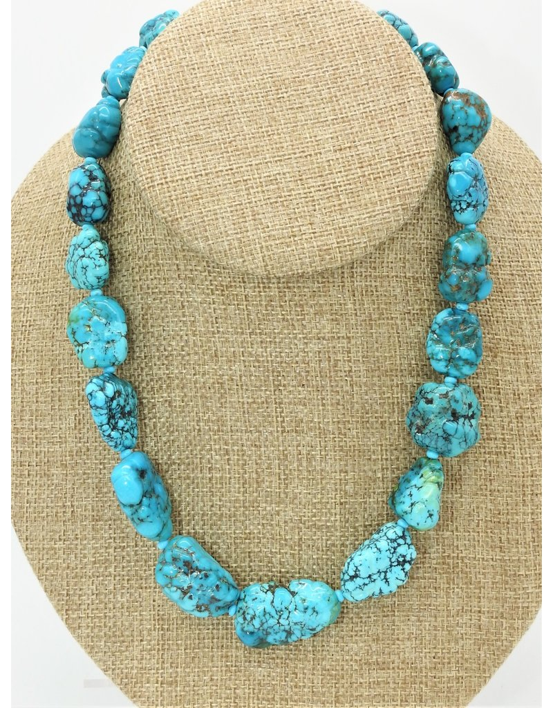 Pam Springall PS-N54 Big Blue Nugget Maan Star Turquoise Necklace