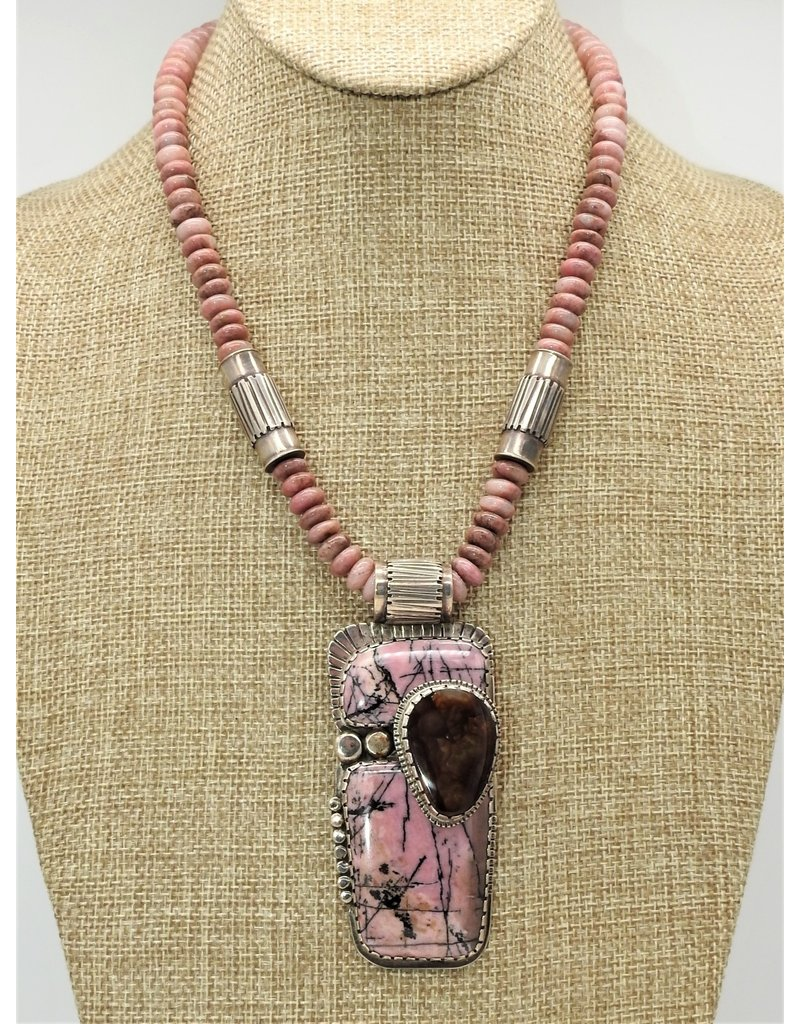 Karina KG-N12C Rhodacrocea & Boulder Opal Necklace