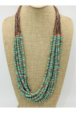 SW Native American SW-10 Strnd. Spiny Oyster & Campitos Turq. Necklace