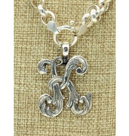 """Mariano Draghi MD-C  SS Initial K Lg Pendant (1 3/4"""" Wide), swival bail"""