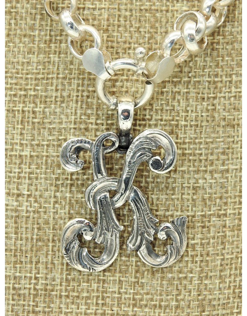 """Mariano Draghi Initial K Lg Pendant (1 3/4"""" Wide), swival bail"""