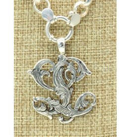 """Mariano Draghi SS Initial  L Lg Pendant (1 3/4"""") swival bail"""