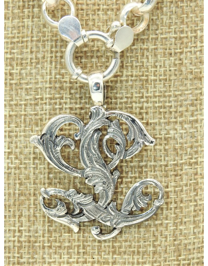 """Mariano Draghi MD-C  SS Initial  L Lg Pendant (1 3/4"""") swival bail"""