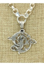 """Mariano Draghi SS Initial D Lg Pendant 2"""" roped swival bail"""