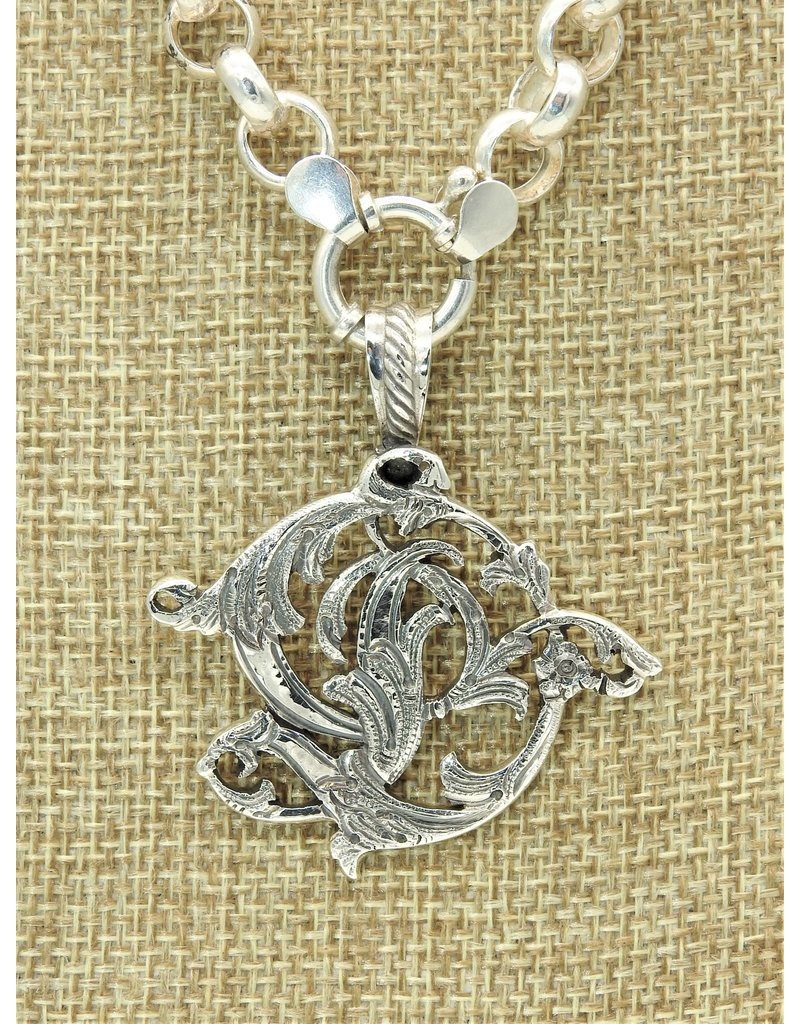 """Mariano Draghi MD-C  SS Initial D Lg Pendant 2"""" roped swival bail"""
