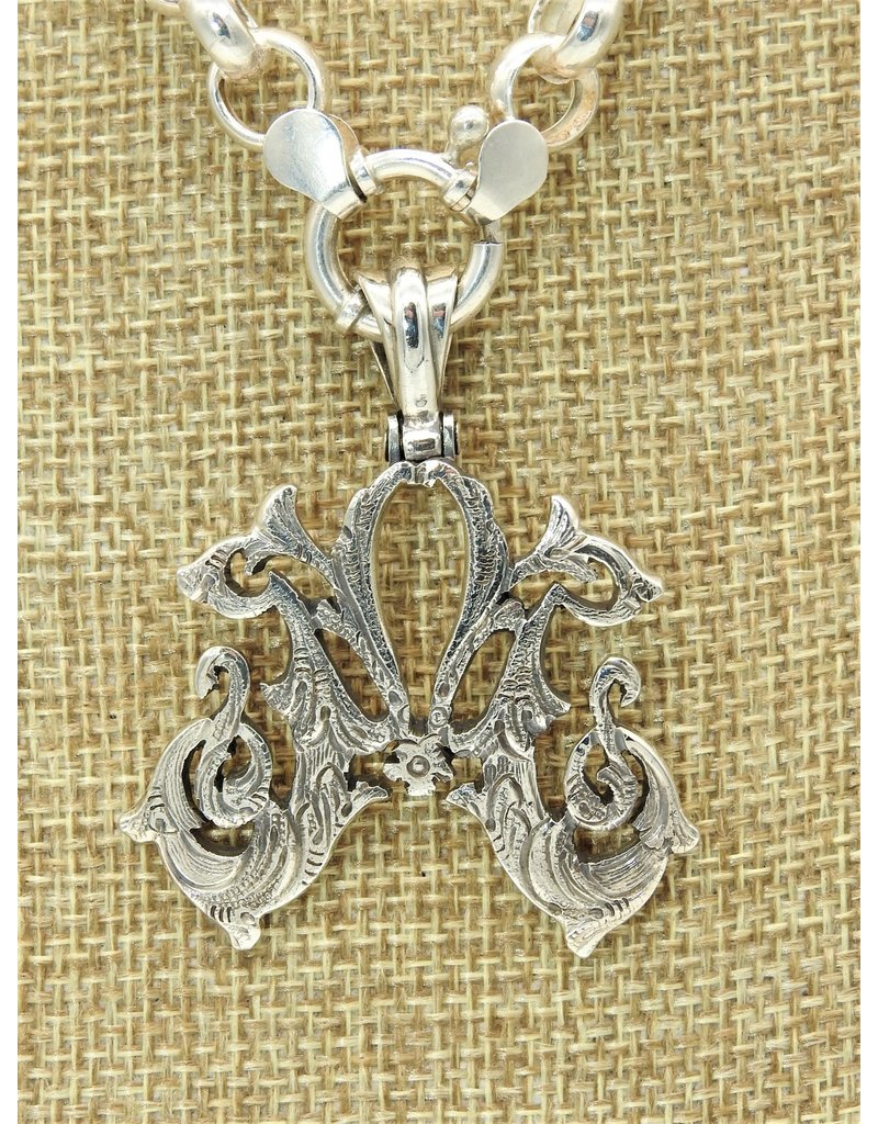 """Mariano Draghi MD-C  SS Initial M Lg Pendant (2"""") swival bail"""