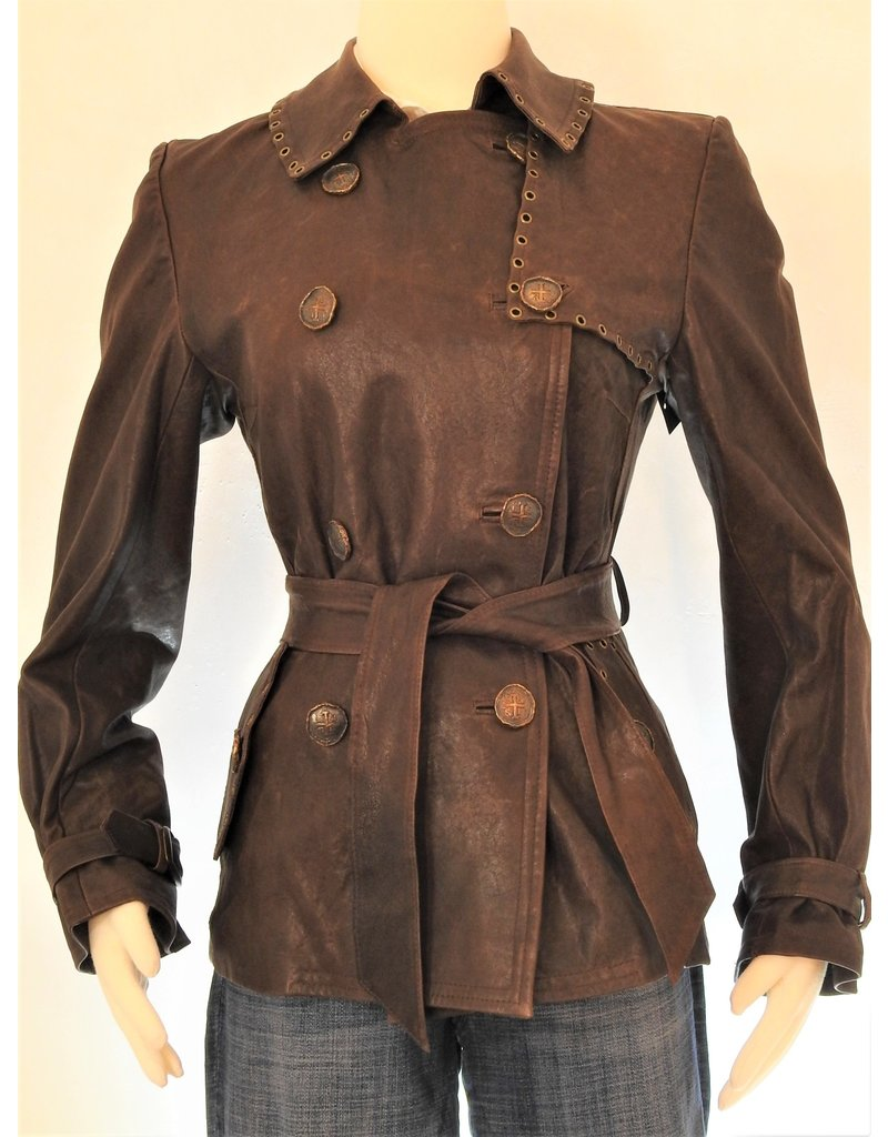 Alan Michael USA Corp Leather Trench Coat