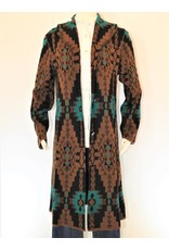 Peruvian Perfection Alpaca Duster w/ collar - Brn, Blk, & Turq