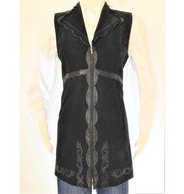 Gossamer Wings Black Leather Vest Above Knee