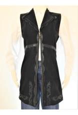 Gossamer Wings Black Leather Vest Above Knee