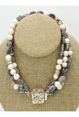 "Paula Sass-Donnelly PSD-N12C 16"" CrazyLaceAgate,pearls/SS Bead Neck"