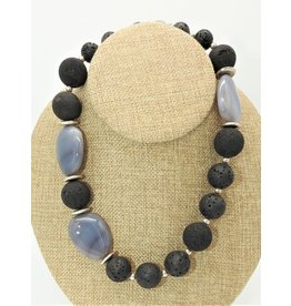 """Paula Sass-Donnelly PSD-N3C 18""""Grey Agate, Lava & Silver Necklace"""