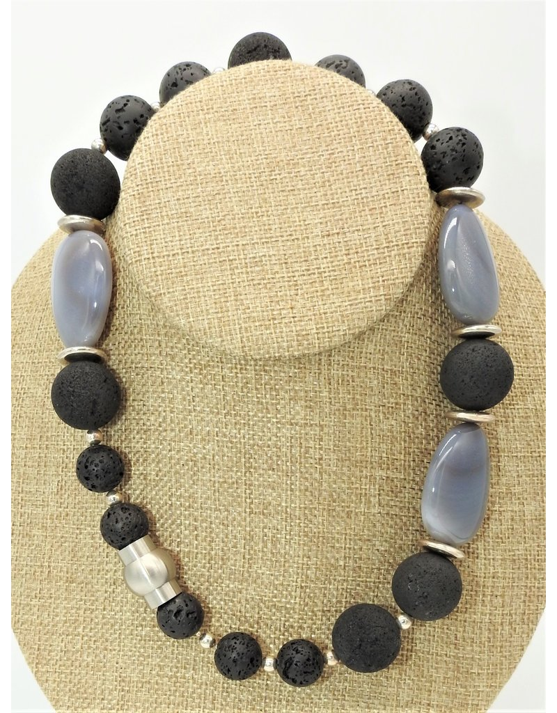 "Paula Sass-Donnelly PSD-N3C 18""Grey Agate, Lava & Silver Necklace"