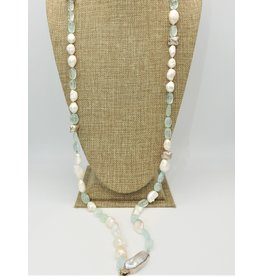 "Paula Sass-Donnelly PSD-N14C 42"" Baroque Prls/Crvd Aquam Long Necklace"