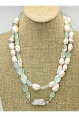 "Paula Sass-Donnelly PSD-N14C 42"" Baroque Prls/Crvd Aquam Long Necklace"