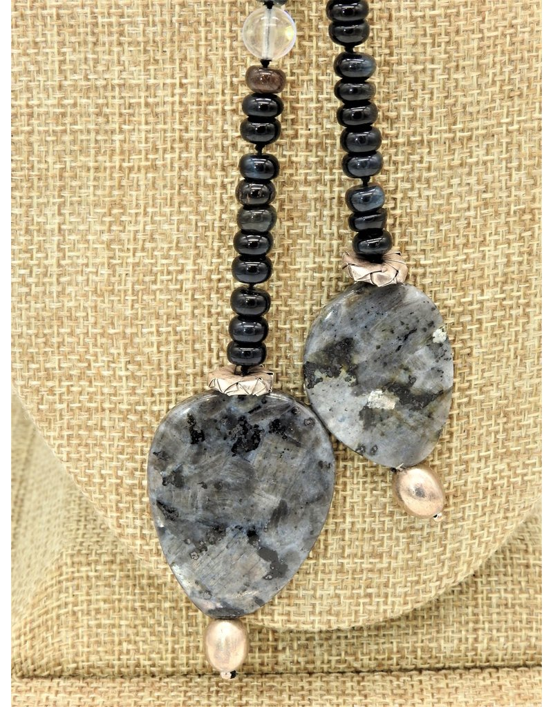 "Paula Sass-Donnelly PSD-N4C 47"" Onyx, Silver, Labradorite Lariat"