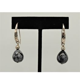 Paula Sass-Donnelly PSD-E18C Snowflake Obsidian/SS Earrings