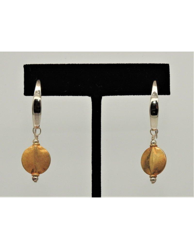 Paula Sass-Donnelly PSD-E24C SS w/Gold Vermeil Disc Earrings