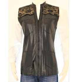 Gossamer Wings GW-Blk Leather, Gold Floral Sueded Yoke, 4 pkt vest L