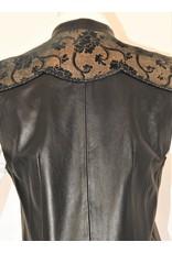 Gossamer Wings GW-Blk Leather, Gold Floral Sueded Yoke, 4 pkt vest L