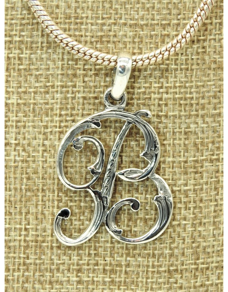 Mariano Draghi MD-Sterling Silver Initial B Small Pendant
