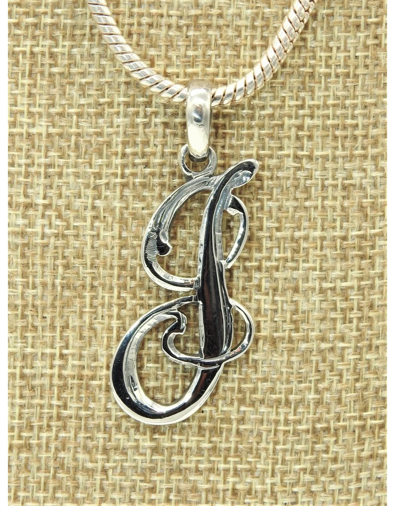 Mariano Draghi MD-Sterling Silver Initial J Small Pendant (Script)