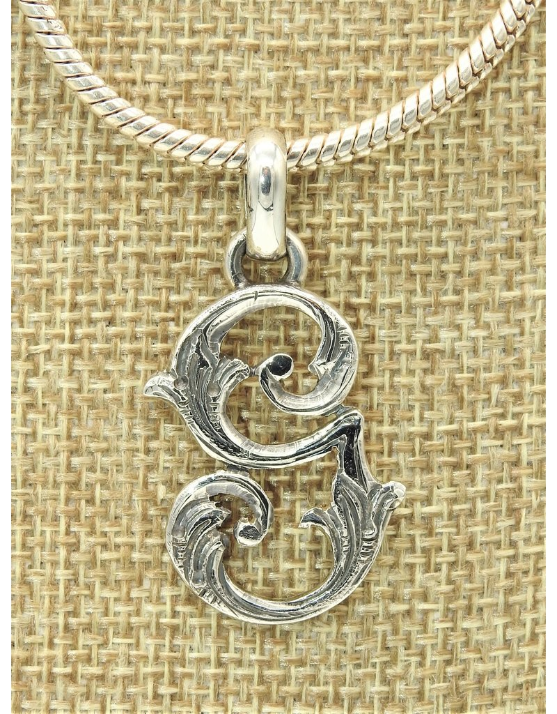 Mariano Draghi MD-Sterling Silver Initial G Small Pendant (lg bail)