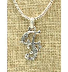 """Mariano Draghi MD-Sterling Silver Initial F Small Pendant (1.5"""")"""