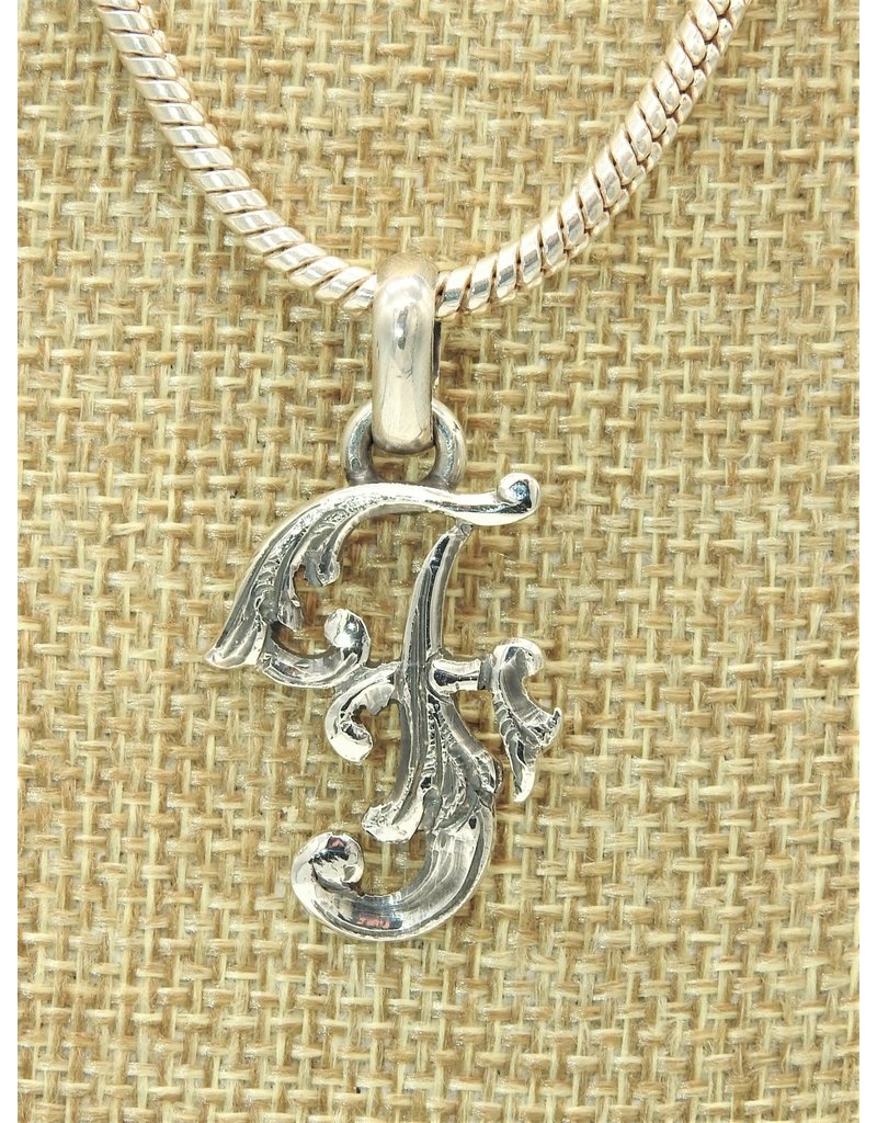 "Mariano Draghi Sterling Silver Initial F Small Pendant (1.5"")"