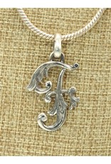 "Mariano Draghi Sterling Silver Initial F Small Pendant (1.75"")"