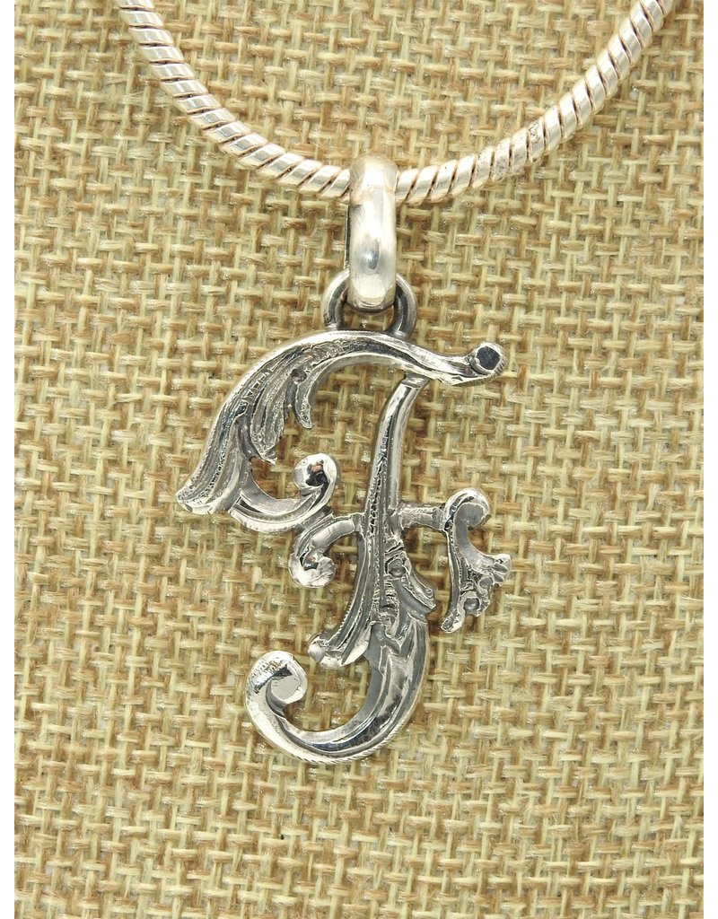 "Mariano Draghi MD-Sterling Silver Initial F Small Pendant (1.75"")"
