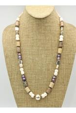Judy Perlman JP-N38-C SS/Fossil Coral & Pearls