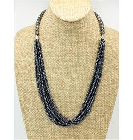 Pam Springall 8 Strand Black Spinnial Beads, SS clasp