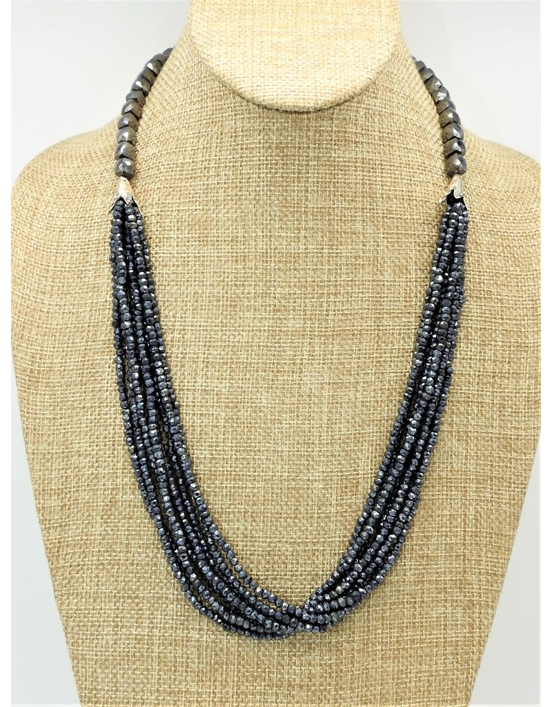 Pam Springall 8 Strand Black Spinnial Beads, SS clasp