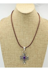 Shreve Saville Sterling Silver Sugilite Cross Pendant
