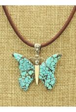 "Shreve Saville SRS-N100C Bluemoon Butterfly 20.5"", Brn. Lthr., ss clasp"