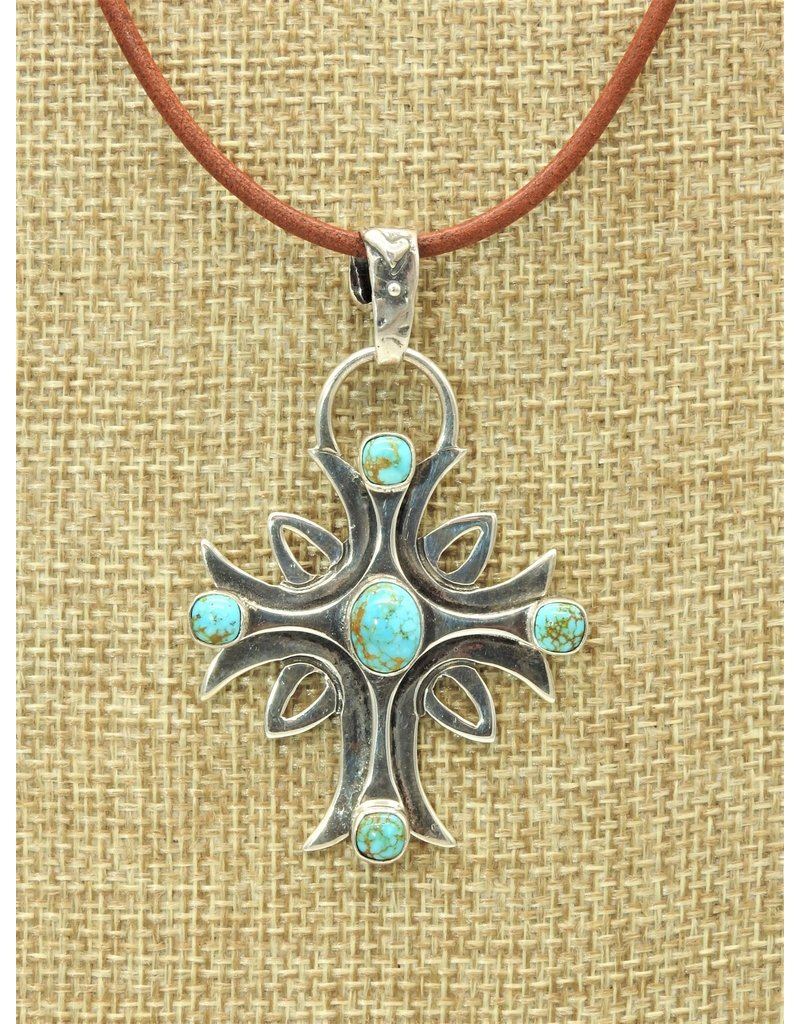 "Shreve Saville SS Cross w/5 stone #8 Turquoise 20"""
