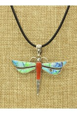 """Shreve Saville SRS-N101C Nt'l Red Coral Syn. Opal Drgnfly 20"""", blk lthr ss clasp"""