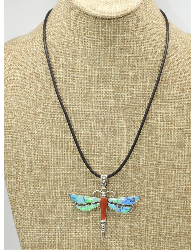"""Shreve Saville Natural Red Coral Syn. Opal Dragonfly 20"""""""