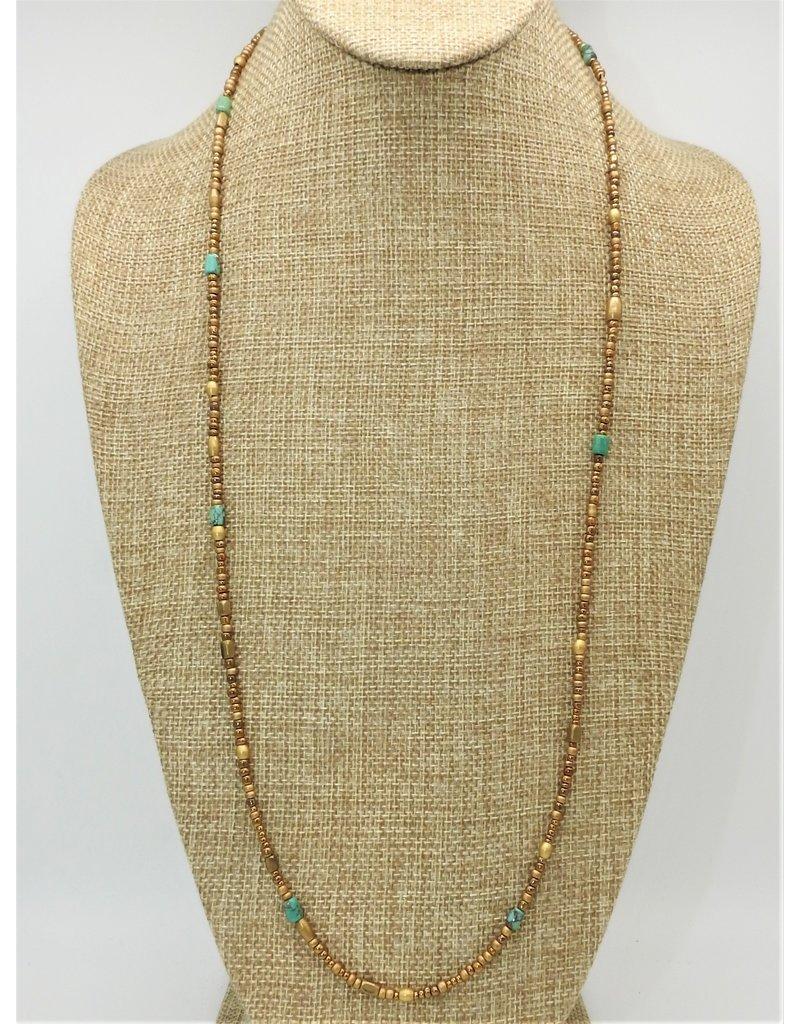 Aymala Studio Largo Brass/Turq Beads-Long