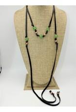 Aymala Studio 201-3 Drskin Lariats-Blk, glass/african beads