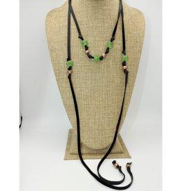 Aymala Studio Deerskin Lariats-Blk, glass/african beads