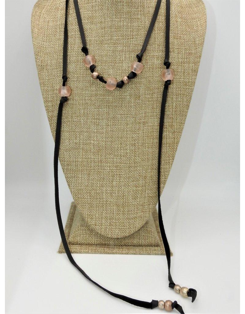 Aymala Studio 201-2 Drskin Lariats-Blk, glass/african beads